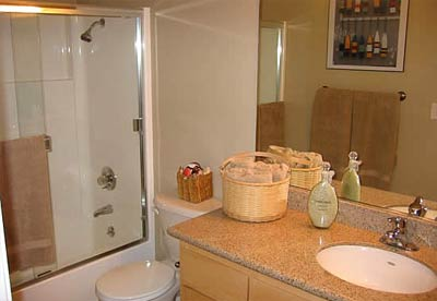All suites have designer features and fixtures, stained cabinetry and granite countertops.